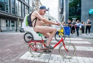 Naked cyclist take part in the Cyclonudista ride