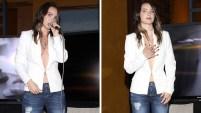 La actriz y cantante lució un súper atrevido escote en la presentación de su nueva línea de ropa para la marca Studio F en la Ciudad de México.