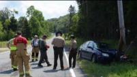La mujer chocó contra un poste de teléfono  en la Ruta 114.