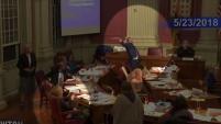 El murciélago interrumpió la sesión del concejo municipal volando por las cabezas de concejales en Newton, Massachusetts.