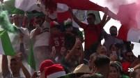 Aficionados del fútbol  en Tijuana celeran el triunfo del México