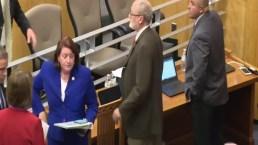 Mujer arrestada tras presuntamente arrojar líquido a senadores de California