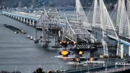 Vuelan en pedazos antiguo puente de Nueva York