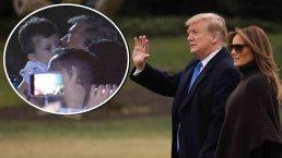 Video: Trump reparte besos a dos niñitos tras bajar de avión presidencial