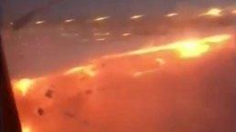 Se incendia avión en Singapur