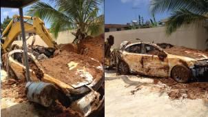 Acusan a hombre de enterrar su Lexus y reportarlo robado