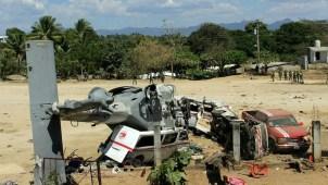 Video muestra cómo se desploma un helicóptero militar
