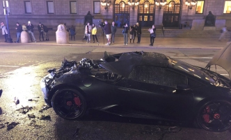 Lamborghini arde en llamas en Copley Square
