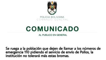 """Bolivia: policía cansada de llamadas para pedir """"pollitos"""""""