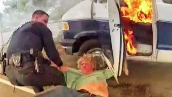 En imágenes: salvan a hombre de morir quemado en California