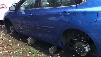 Autos terminan en bloques y sin llantas en Hartford