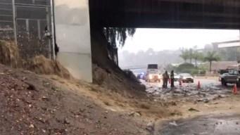 Intensa lluvia causa derrumbe en Hillcrest