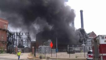 Planta de energía se prende en llamas en Providence