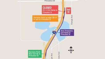 Advierten desvío de la salida de Princeton en I-4