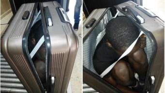 Frustran tráfico de inmigrante oculto en una maleta