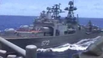 Dos buques de guerra de EEUU y Rusia a punto de chocar