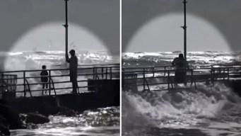 En video: enorme ola se lleva a niña en un muelle