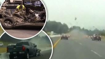 Brutal choque: auto queda pulverizado y otro sale volando
