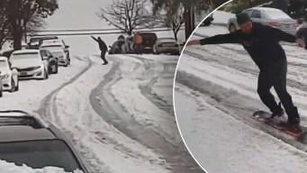 """Impresionante: """"snowboarder"""" practica deporte invernal en las calles de San José"""