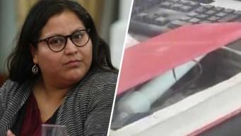 Estalla libro-bomba en la cara de senadora mexicana