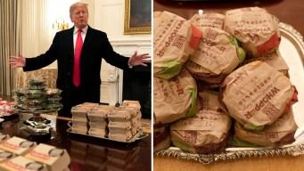Trump brinda festín de hamburguesas en la Casa Blanca