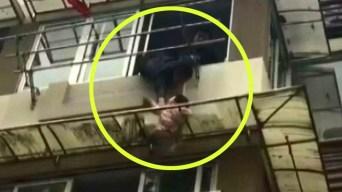 Dramático rescate en video: niña cuelga de una cornisa