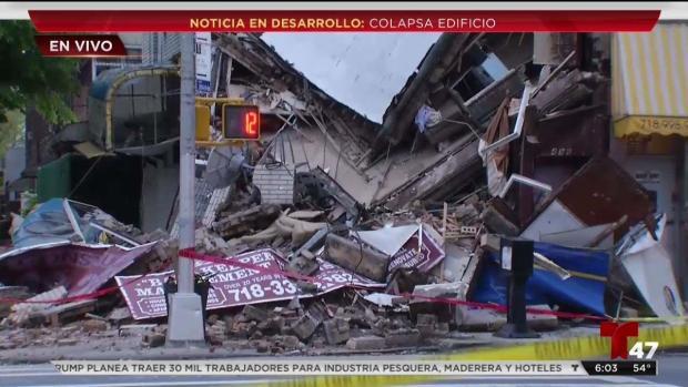 [TLMD - NY] Choca automóvil y colapsa edificio