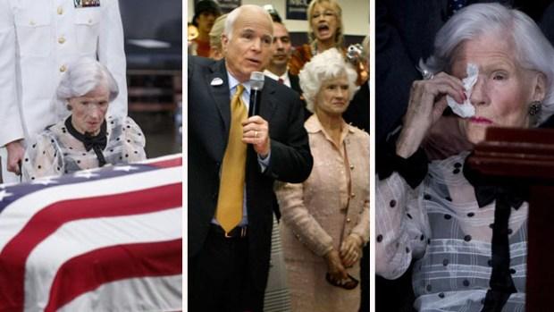 El dolor de una madre: con 106 años Roberta McCain despide a su hijo John