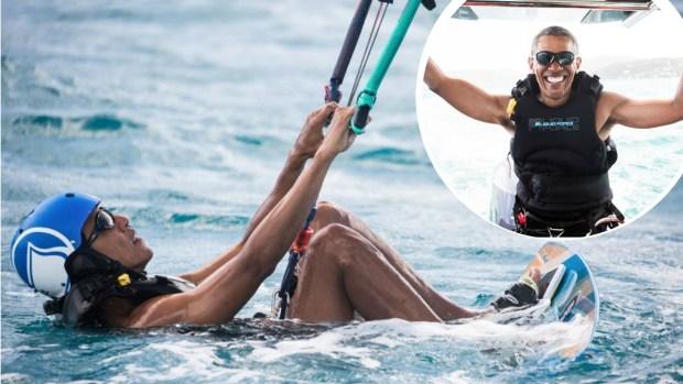 Obama, de presidente a surfista en divertidas vacaciones