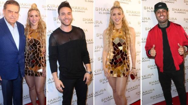 Shakira luce piernas y amigos famosos en lanzamiento de disco