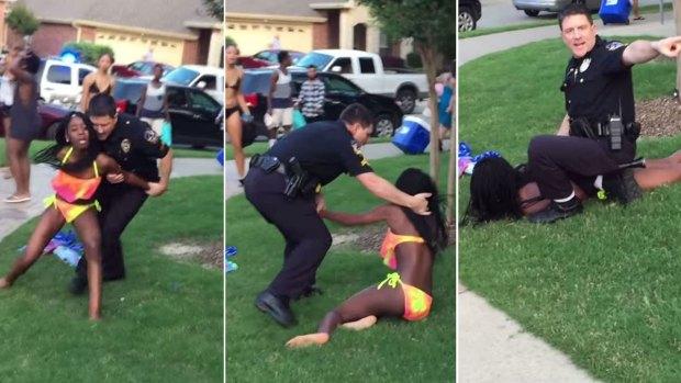 Fotos: policía renuncia tras someter a joven bañista