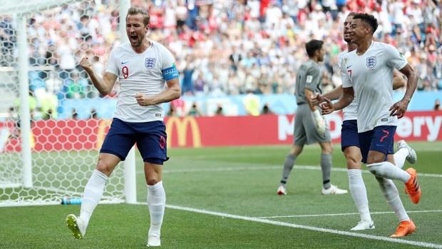 Harry Kane marca su cuarto gol en la Copa Mundial y el quinto en contra de Panamá