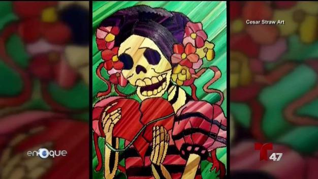 Artista mexicano rescata tradición de pintura con paja