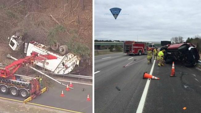 Dos volcamientos en I-495 dejan heridos