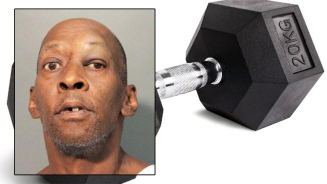 Acusado de martillar cabeza de policía con mancuerna