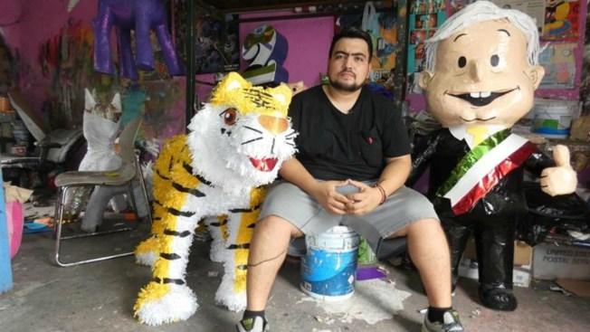 Candidato puntero es favorito en una piñatería