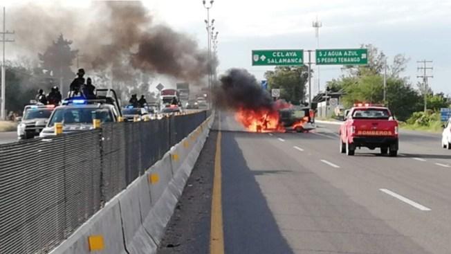 Guanajuato bajo fuego: 10 muertos y vehículos quemados