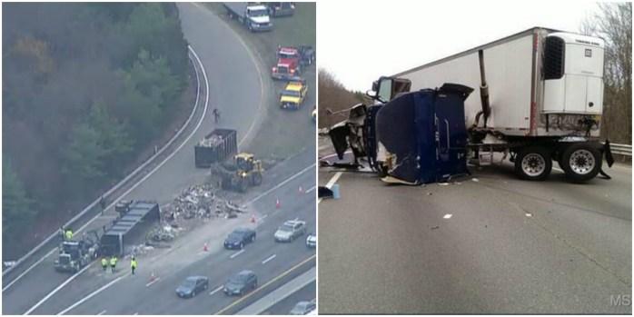 Video: Camiones volcados colapsan autopistas