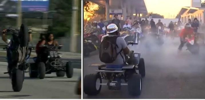 Peligrosas maniobras de motociclistas en vías de Miami