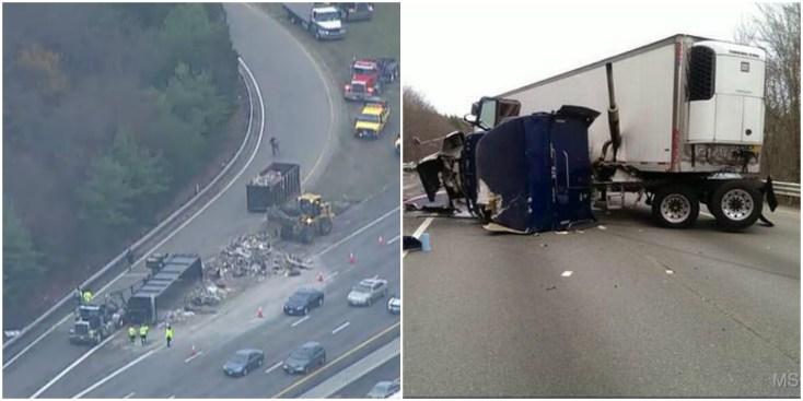 Camiones volcados colapsan autopistas